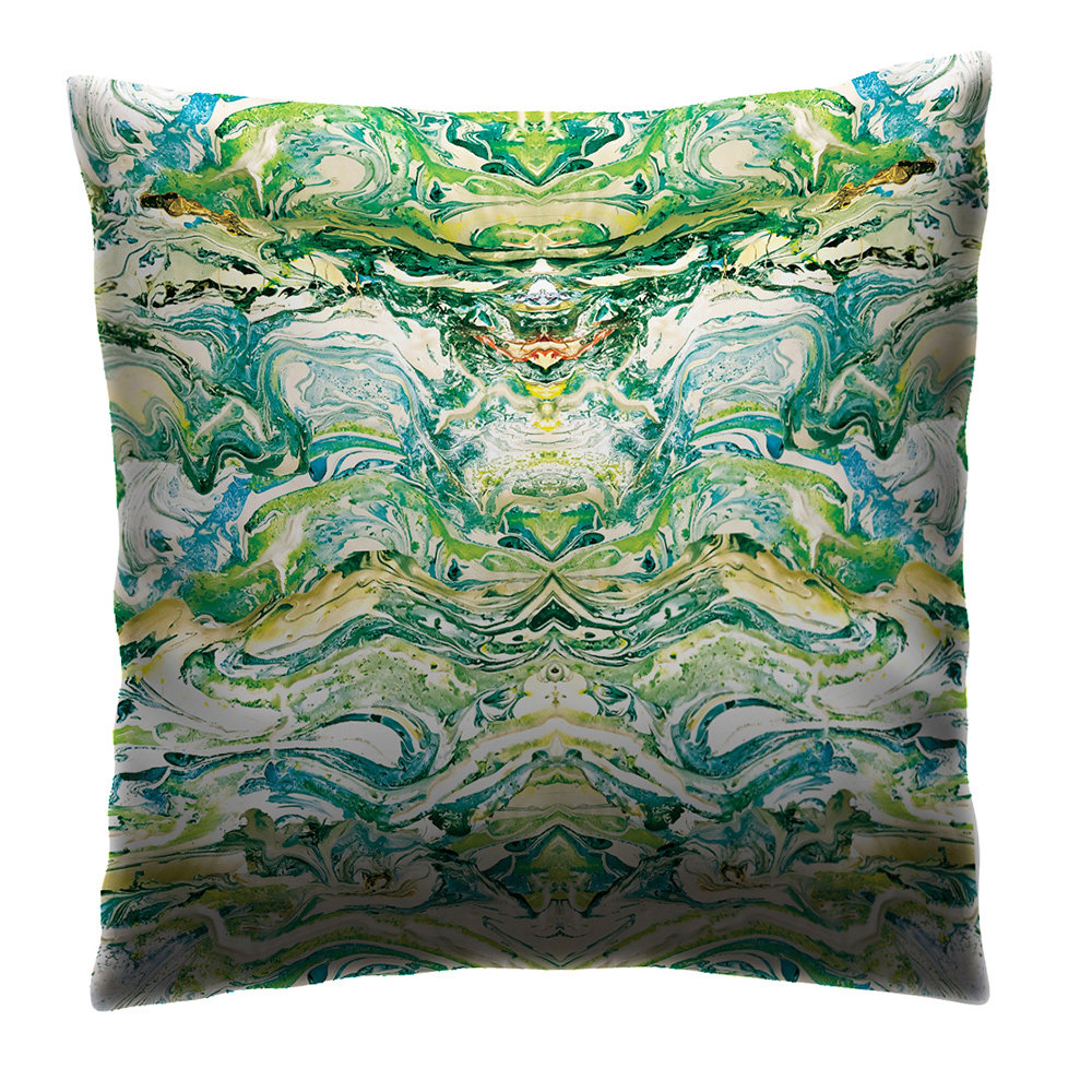 Petronella Hall Marbled Emerald Cushion - Product code: MAR-CEM