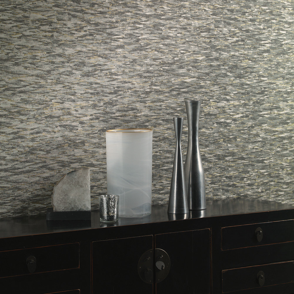 Dolimite Wallpaper - Charcoal/ Gold - by Albany