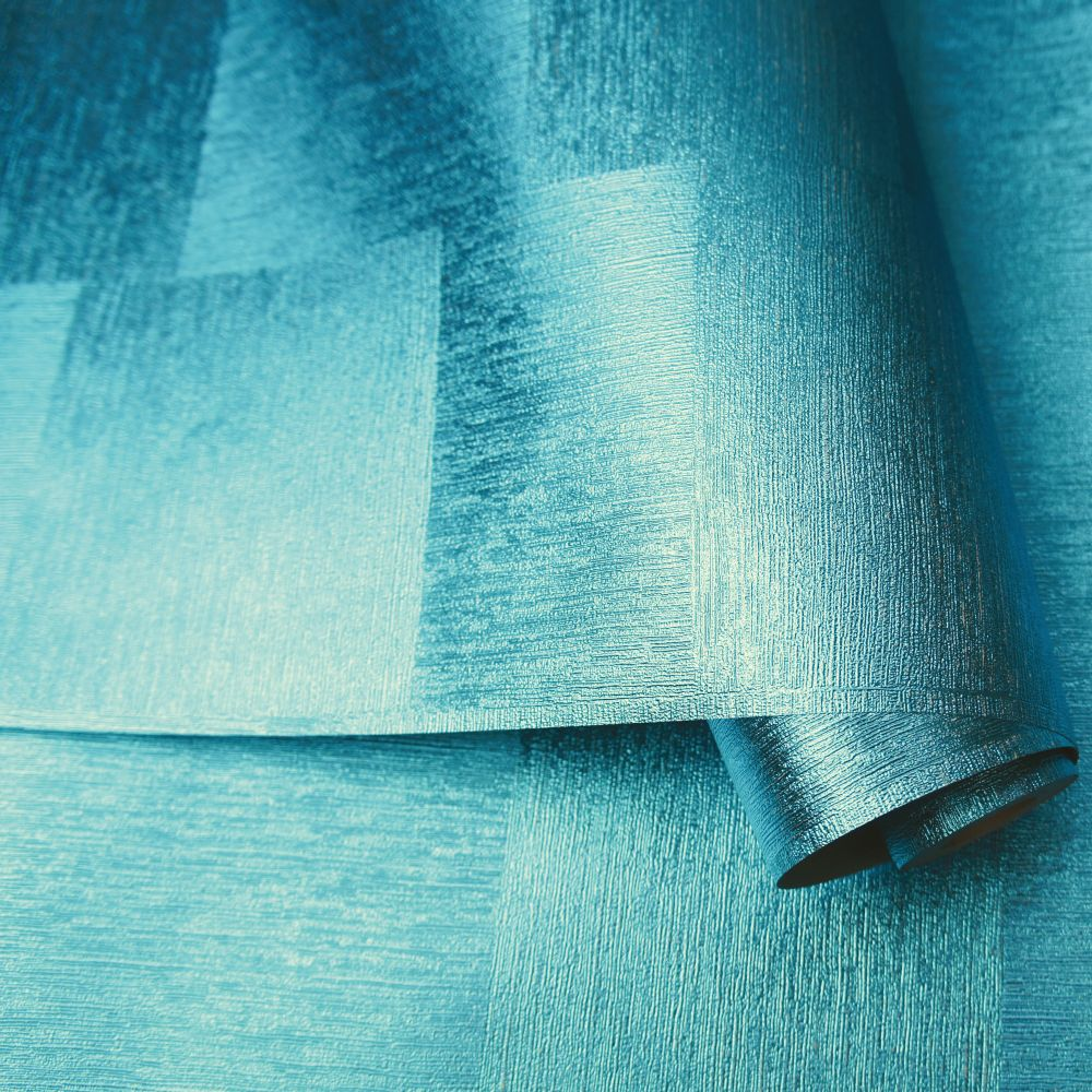 Indium Wallpaper - Topaz Blue Foil - by Albany