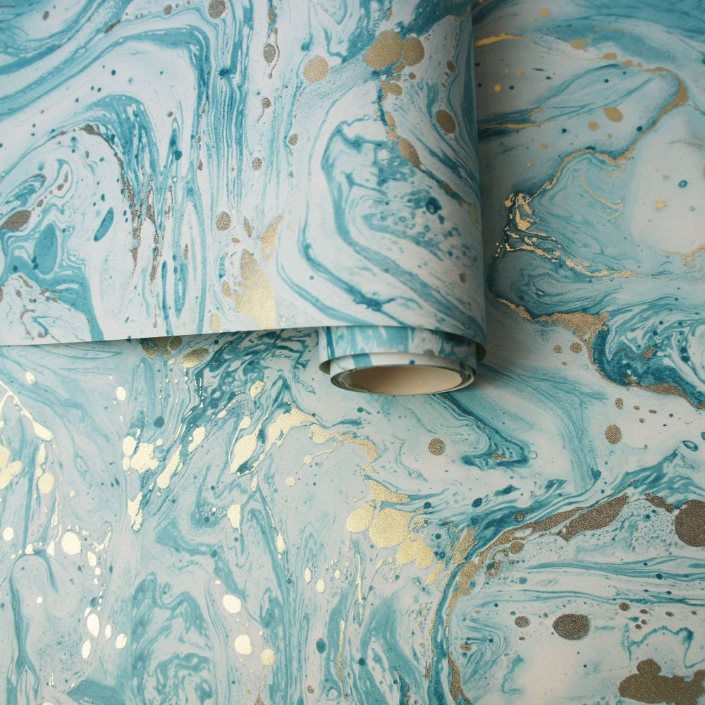 Albany Azurite Teal/ Gold Wallpaper - Product code: 90120