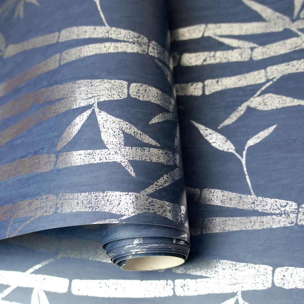 Nandina Wallpaper - Navy/ Silver - by Albany