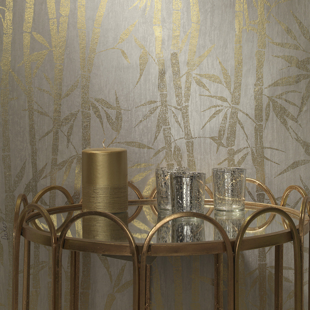 Nandina Wallpaper - Grey/ Gold - by Albany