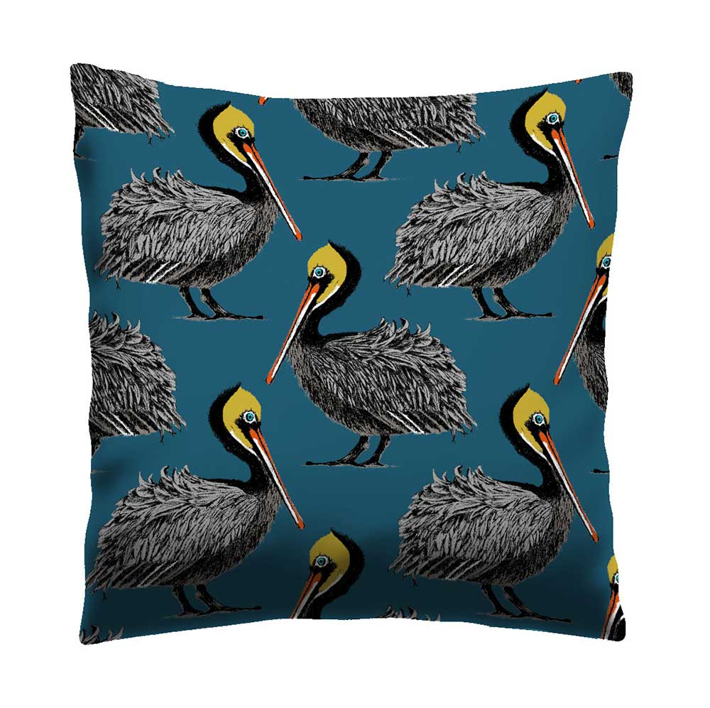 Petronella Hall Pelican Harbour Blue Cushion - Product code: P-CHB