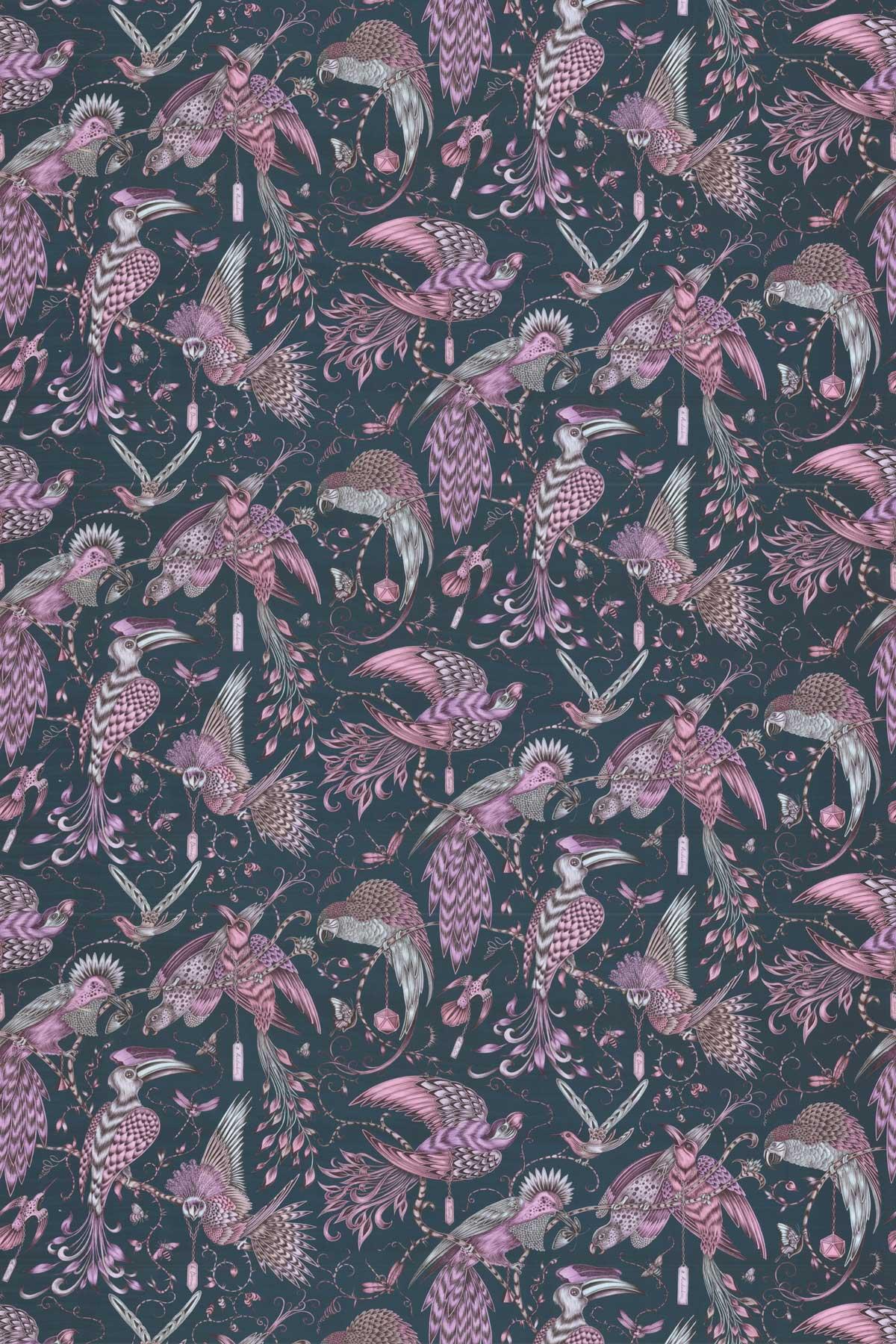 Emma J Shipley Audubon Velvet Pink Fabric - Product code: F1207/01
