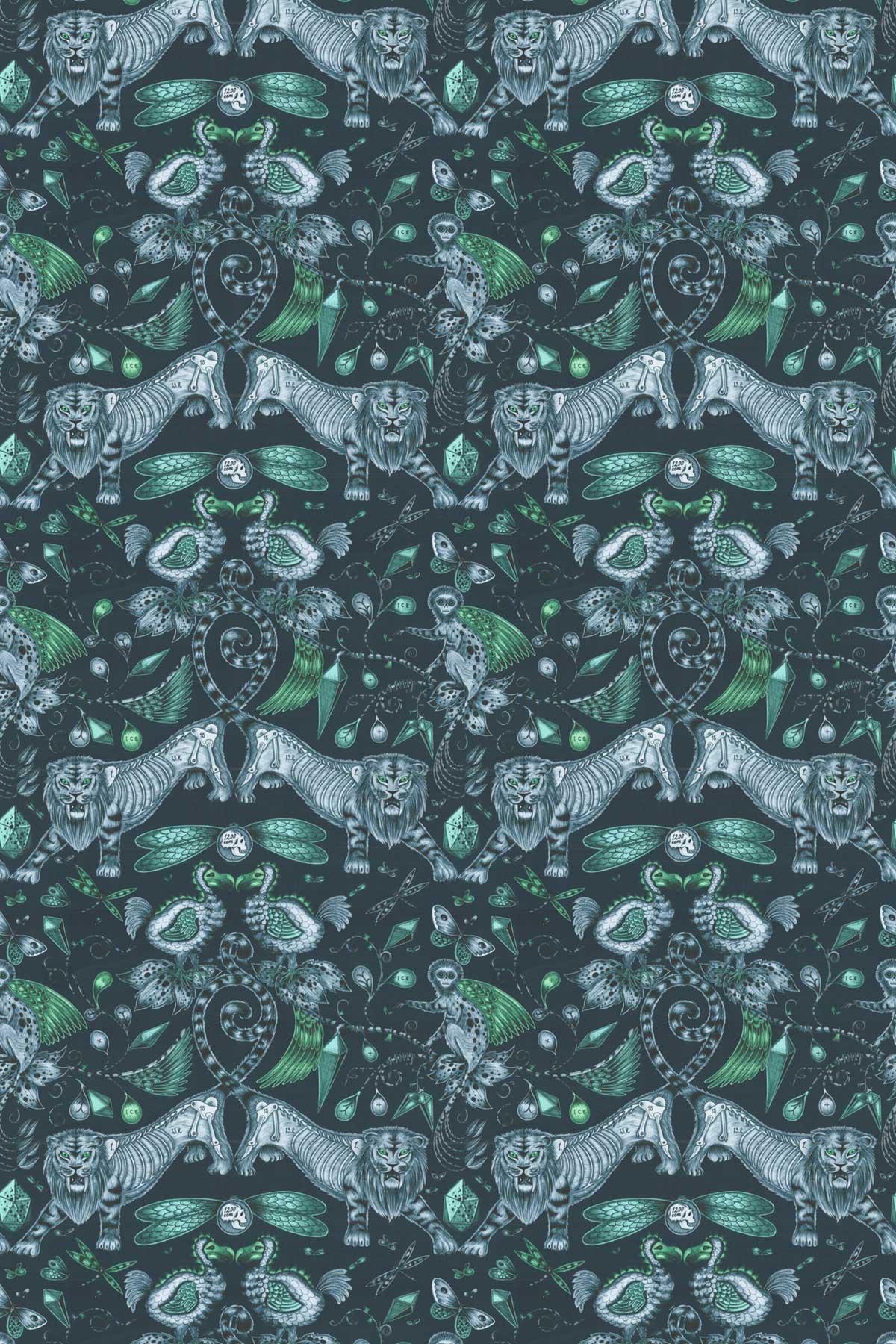 Emma J Shipley Extinct Velvet Navy Fabric - Product code: F1208/01