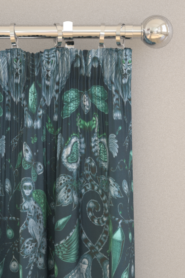 Emma J Shipley Extinct Velvet Navy Curtains - Product code: F1208/01