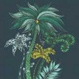 Clarke & Clarke Jungle Palms Velvet Navy Fabric - Product code: F1209/01