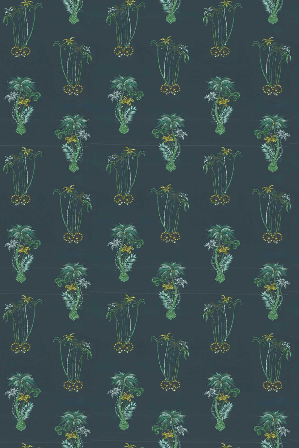 Emma J Shipley Jungle Palms Velvet Navy Fabric - Product code: F1209/01