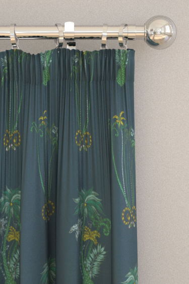 Emma J Shipley Jungle Palms Velvet Navy Curtains - Product code: F1209/01