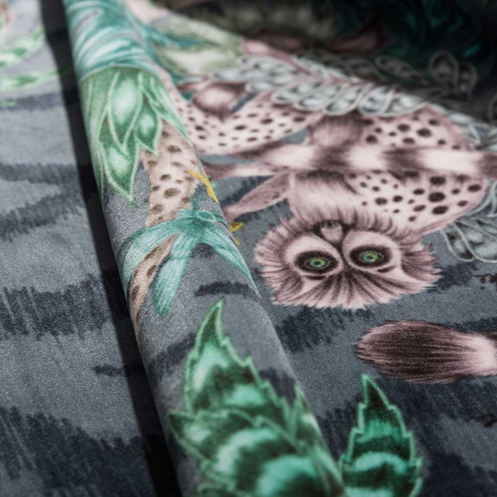 Emma J Shipley Lemur Velvet Navy Fabric - Product code: F1211/01