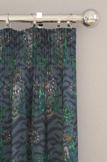 Emma J Shipley Lemur Velvet Navy Curtains - Product code: F1211/01