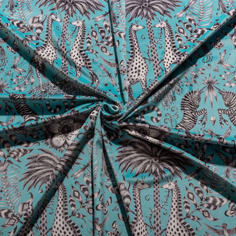 Emma J Shipley Kruger Velvet Teal Fabric - Product code: F1210/01