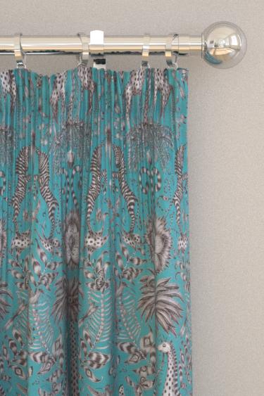 Emma J Shipley Kruger Velvet Teal Curtains - Product code: F1210/01