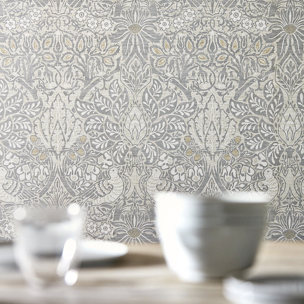 Pure Dove and Rose Wallpaper - Cloud Grey - by Morris