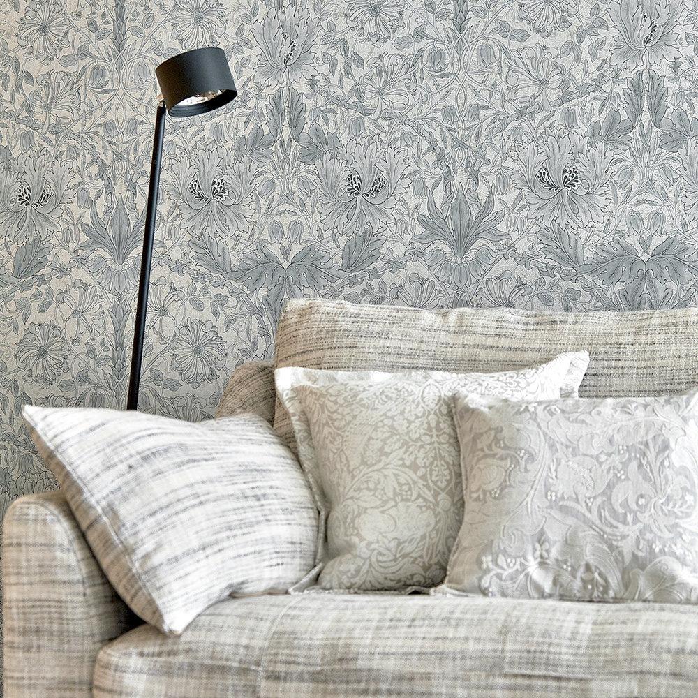 Morris Pure Honeysuckle and Tulip Cloud Grey Wallpaper extra image