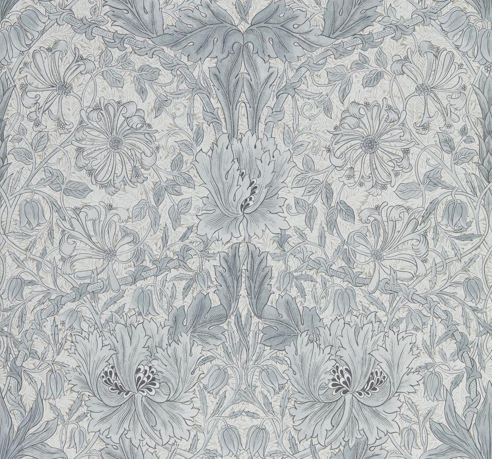 Morris Pure Honeysuckle and Tulip Cloud Grey Wallpaper main image