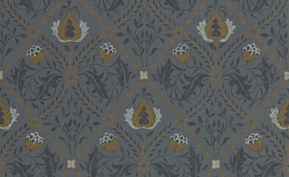 Morris Pure Trellis Black Ink Wallpaper - Product code: 216527