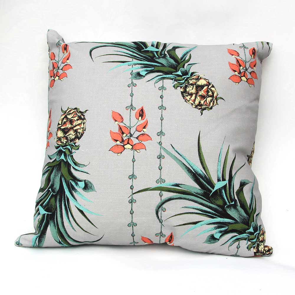 Pineapples/Petals Cushion - Grey - by Petronella Hall