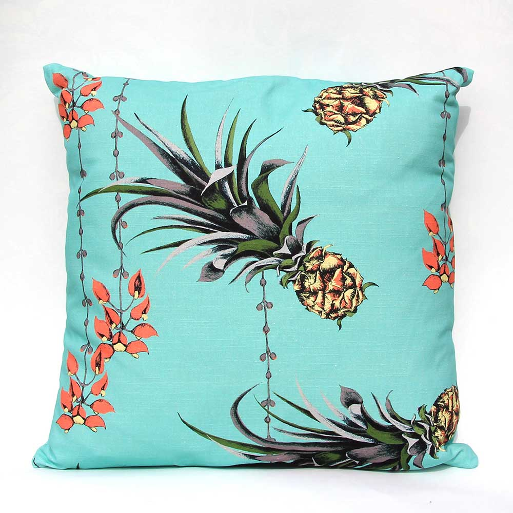 Pineapples/Petals Cushion - Turquoise - by Petronella Hall