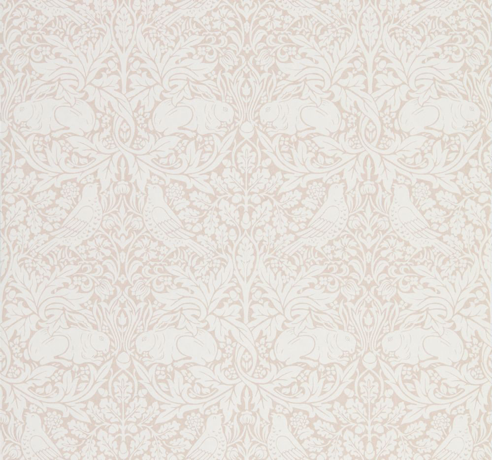 Morris Pure Brer Rabbit Sea Pink Wallpaper main image