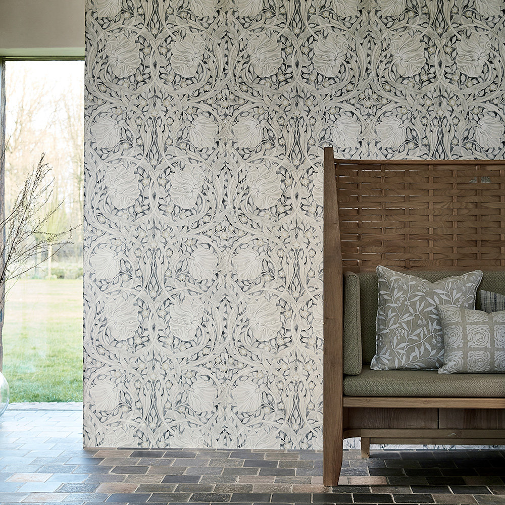 Pure Pimpernel Wallpaper - Black Ink - by Morris
