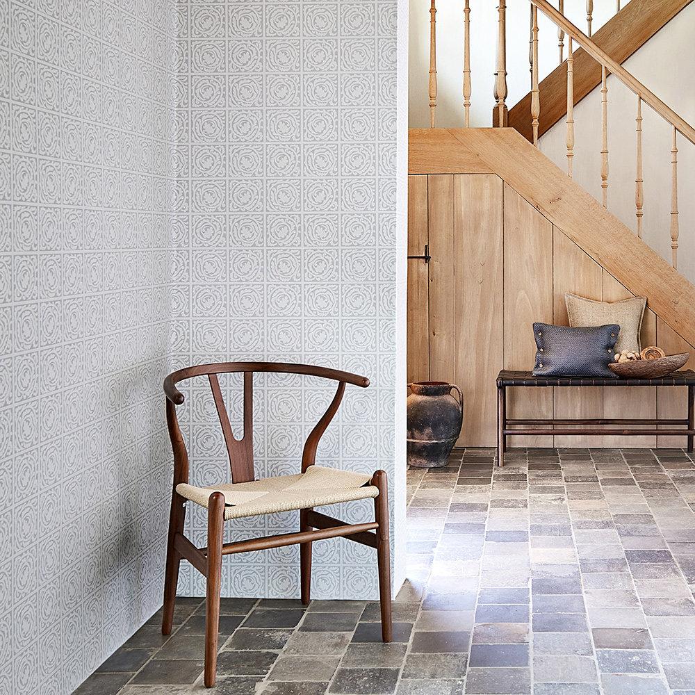 Pure Scroll Wallpaper - Lightish Grey - by Morris