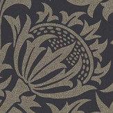 Morris Pure Thistle Black Ink Wallpaper