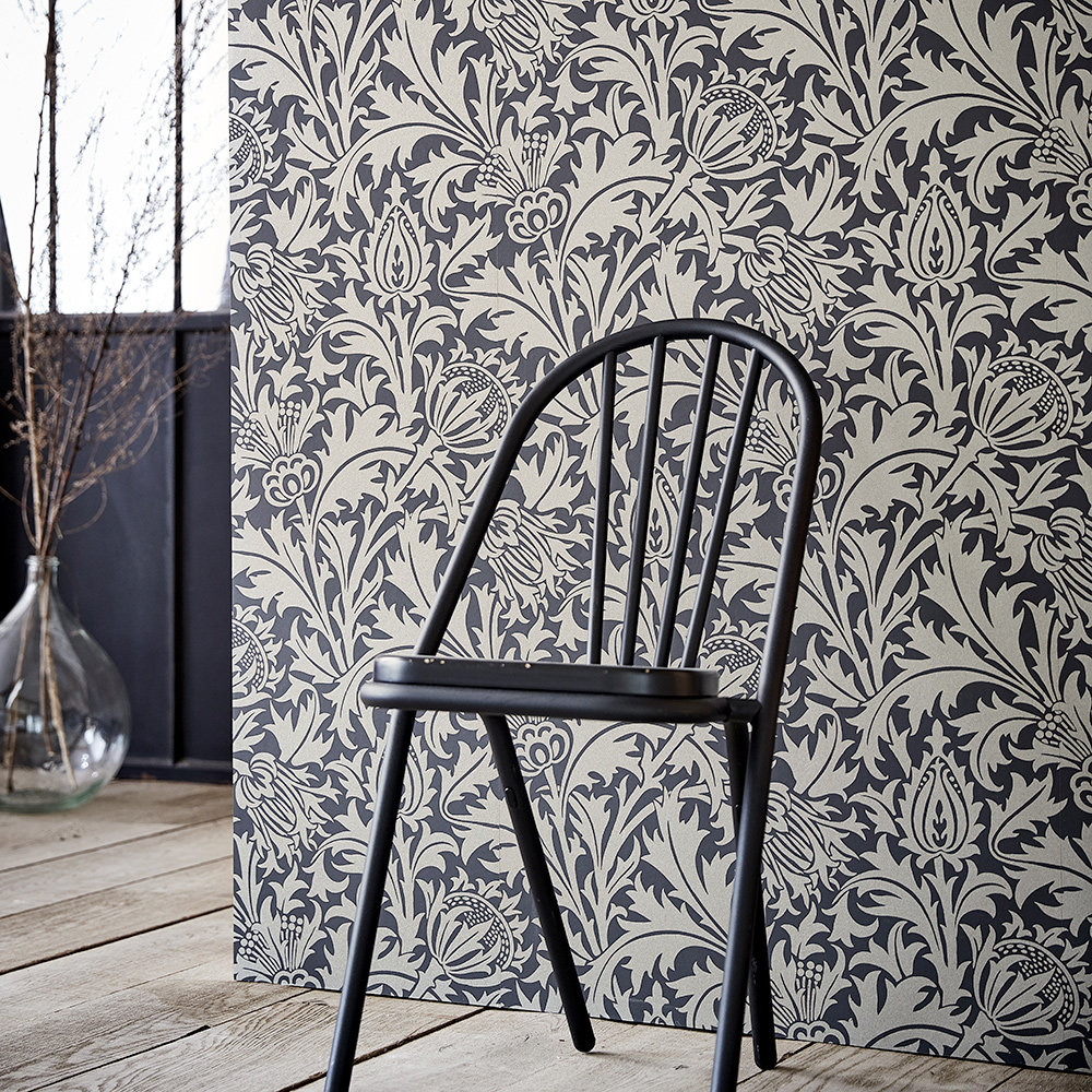 Pure Thistle Wallpaper - Black Ink - by Morris