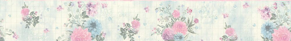 Floral Border - Aqua / Pink - by Albany