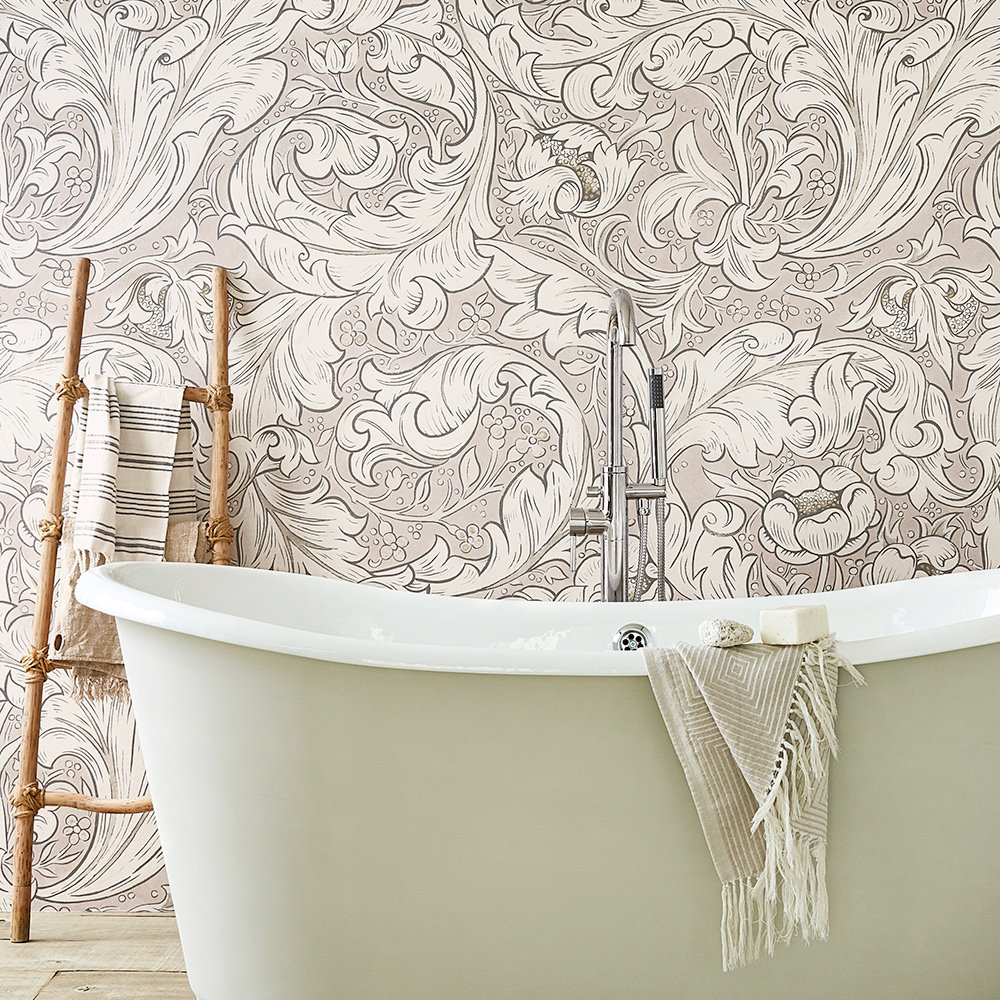 Pure Bachelors Button Wallpaper - Faded Sea Pink - by Morris