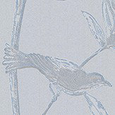 Brian Yates Toile Bird Blue and Silver Wallpaper