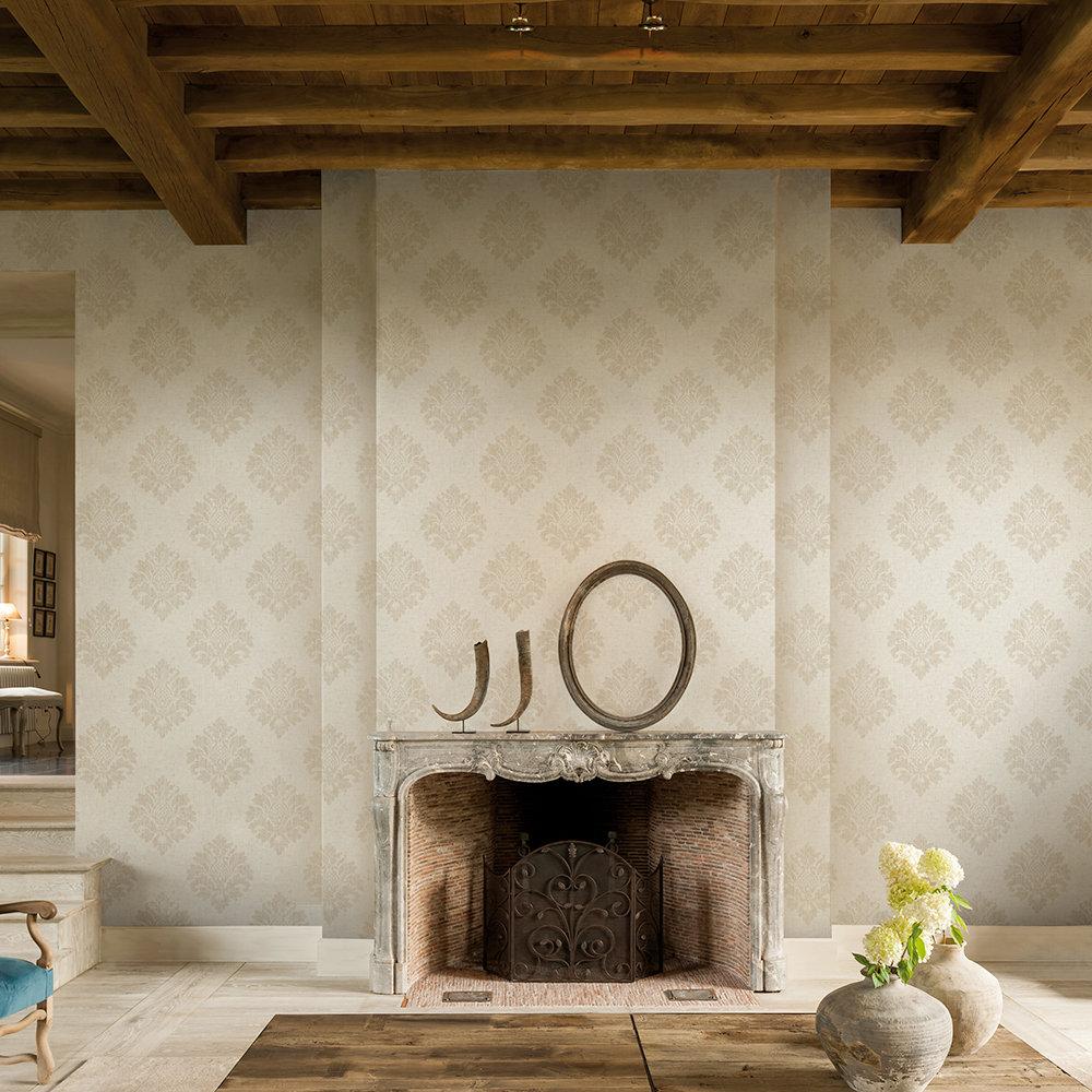 SK Filson Textured Damask Beige Wallpaper - Product code: FI2002