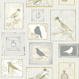 SK Filson Framed Birds Grey Wallpaper