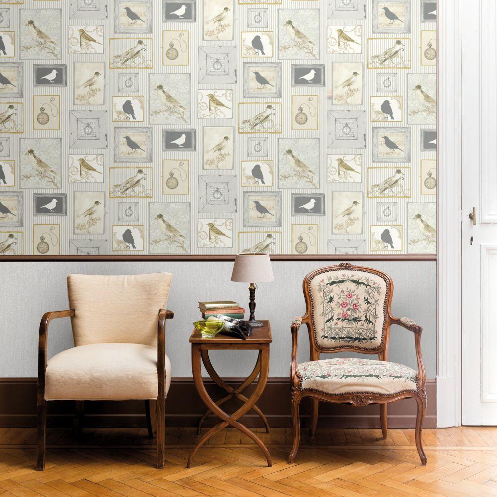 Framed Birds Wallpaper - Grey - by SK Filson