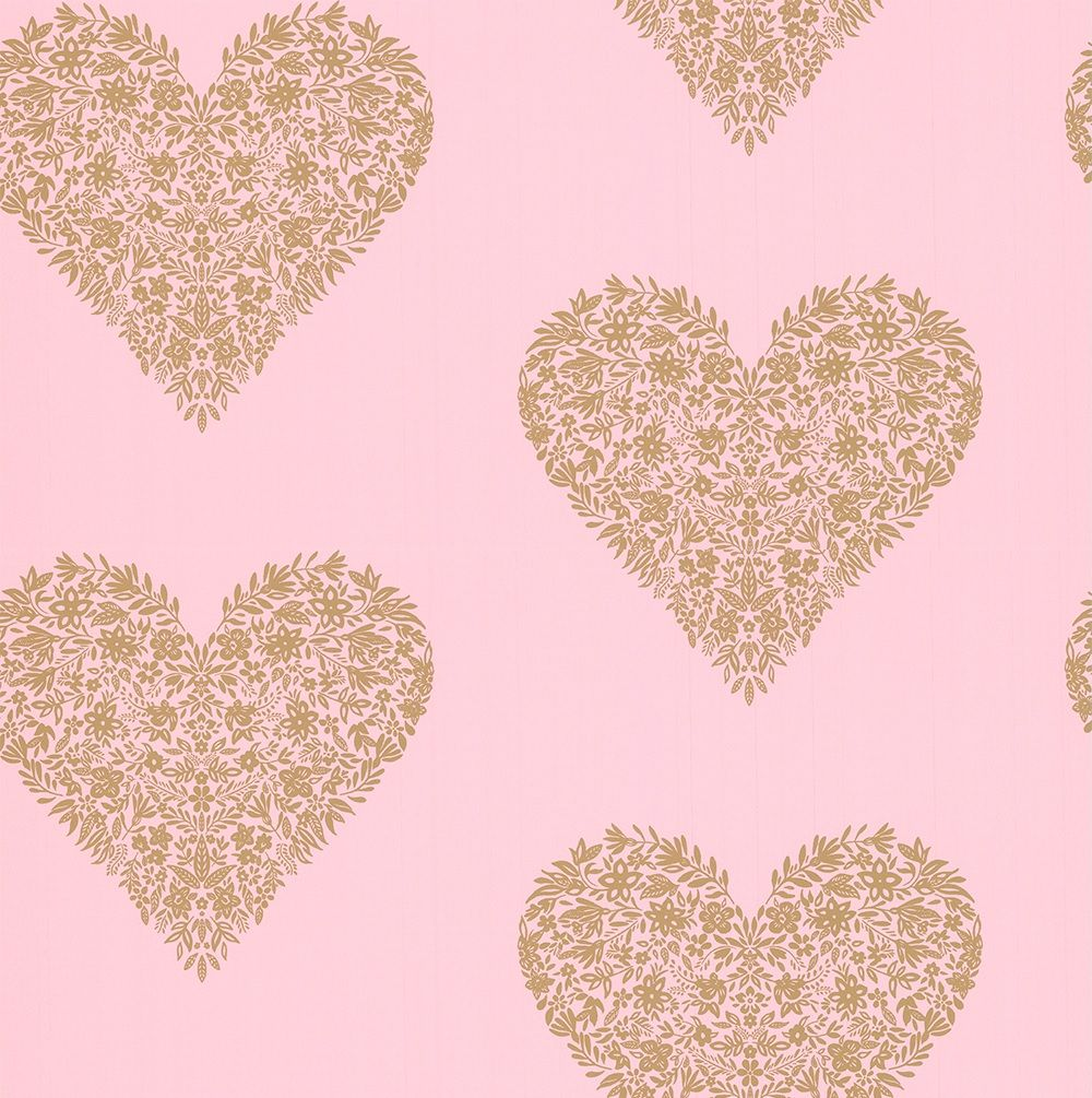 Albany Floral Heart Pink Wallpaper main image