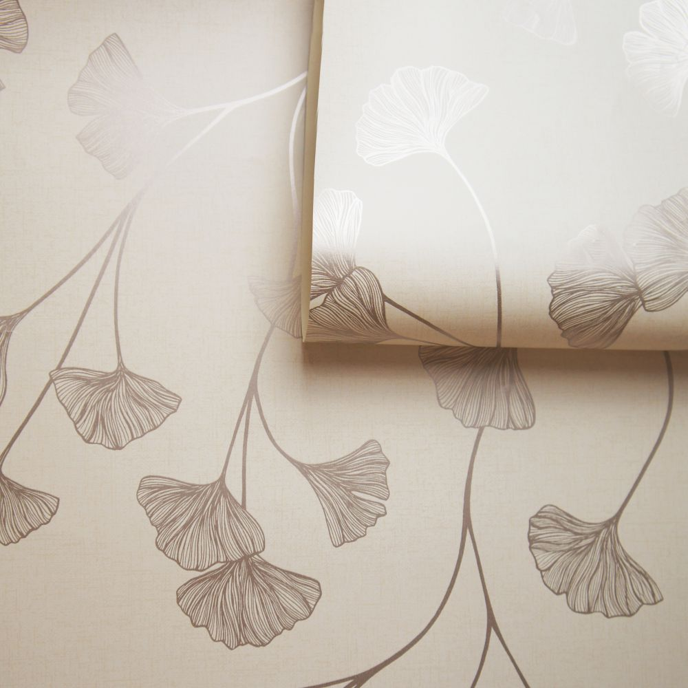 Glistening Ginkgo Wallpaper - Cream - by Albany