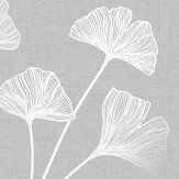Albany Glistening Ginkgo Grey Wallpaper