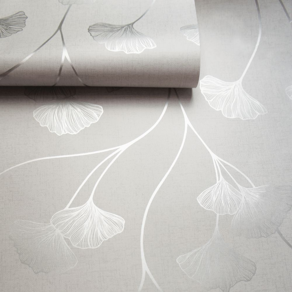 Albany Glistening Ginkgo Grey Wallpaper - Product code: 12700