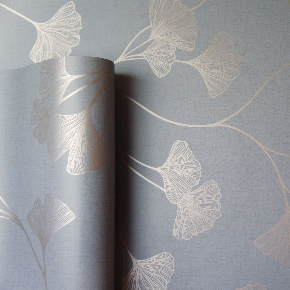 Glistening Ginkgo Wallpaper - Grey  - by Albany