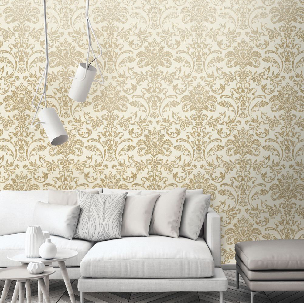 Glistening Damask Wallpaper - Cream - by Albany