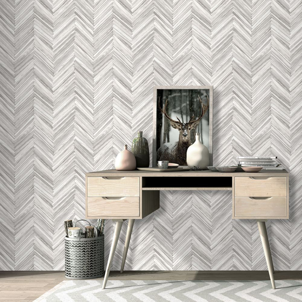 Hygge Wood Wallpaper - Grey - by Albany