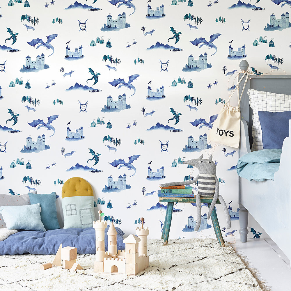 Castles and Dragons Wallpaper - Inky Blue / Teal - by Hibou Home