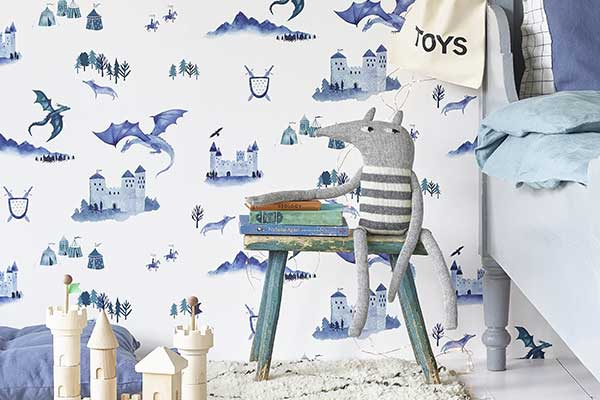 Hibou Home Castles and Dragons Inky Blue / Teal Wallpaper