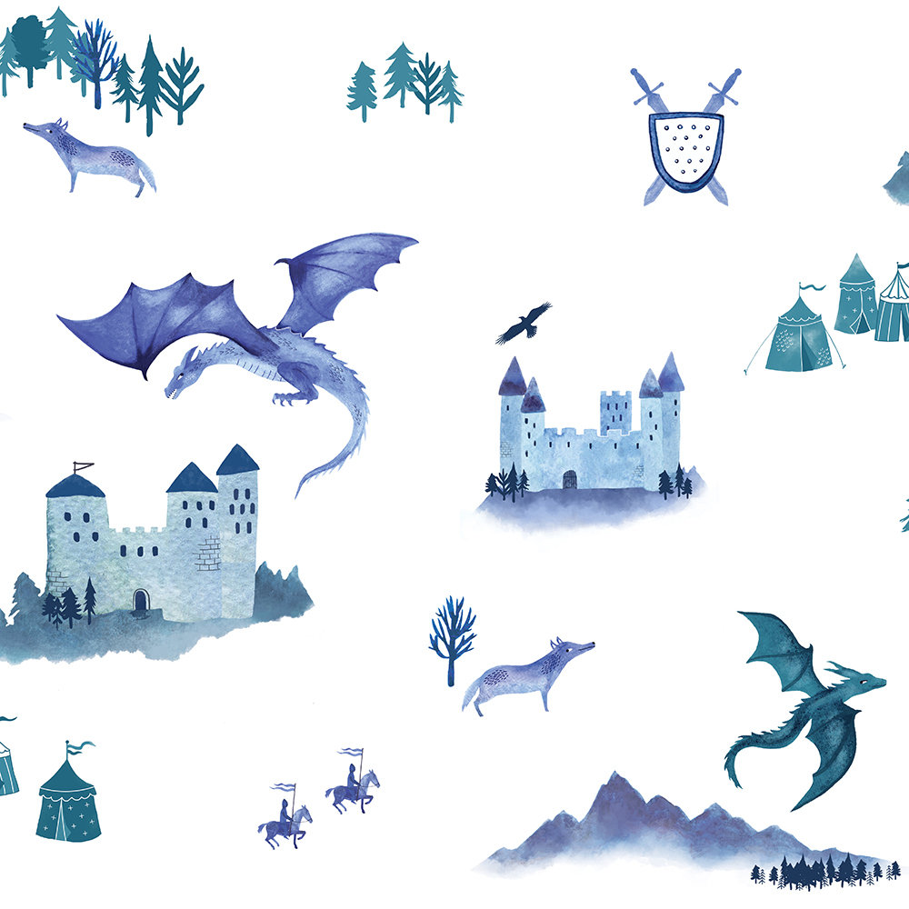 Hibou Home Castles and Dragons Inky Blue / Teal Wallpaper - Product code: HH01401