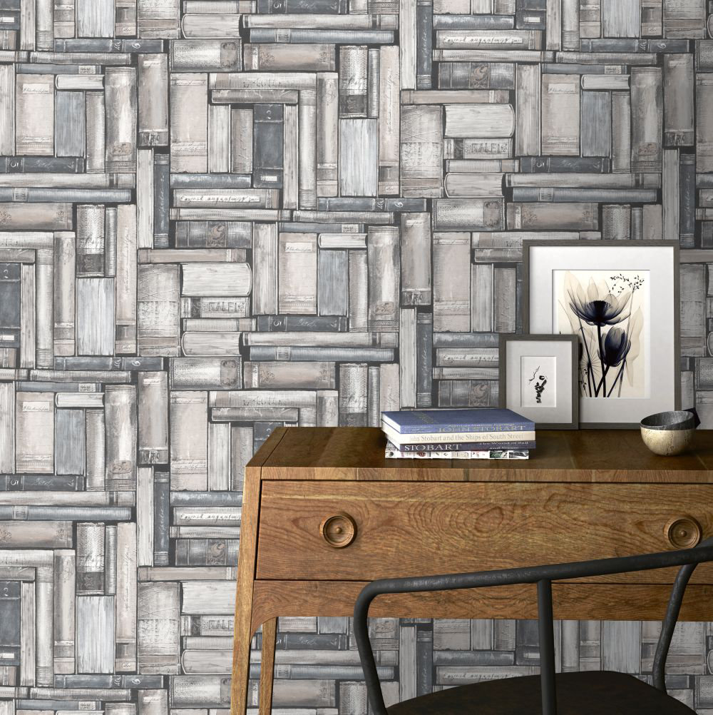 Albany Vintage Library Neutral Wallpaper - Product code: 220742