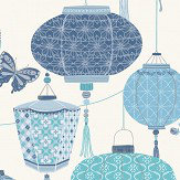 Albany Lantern Blue Wallpaper