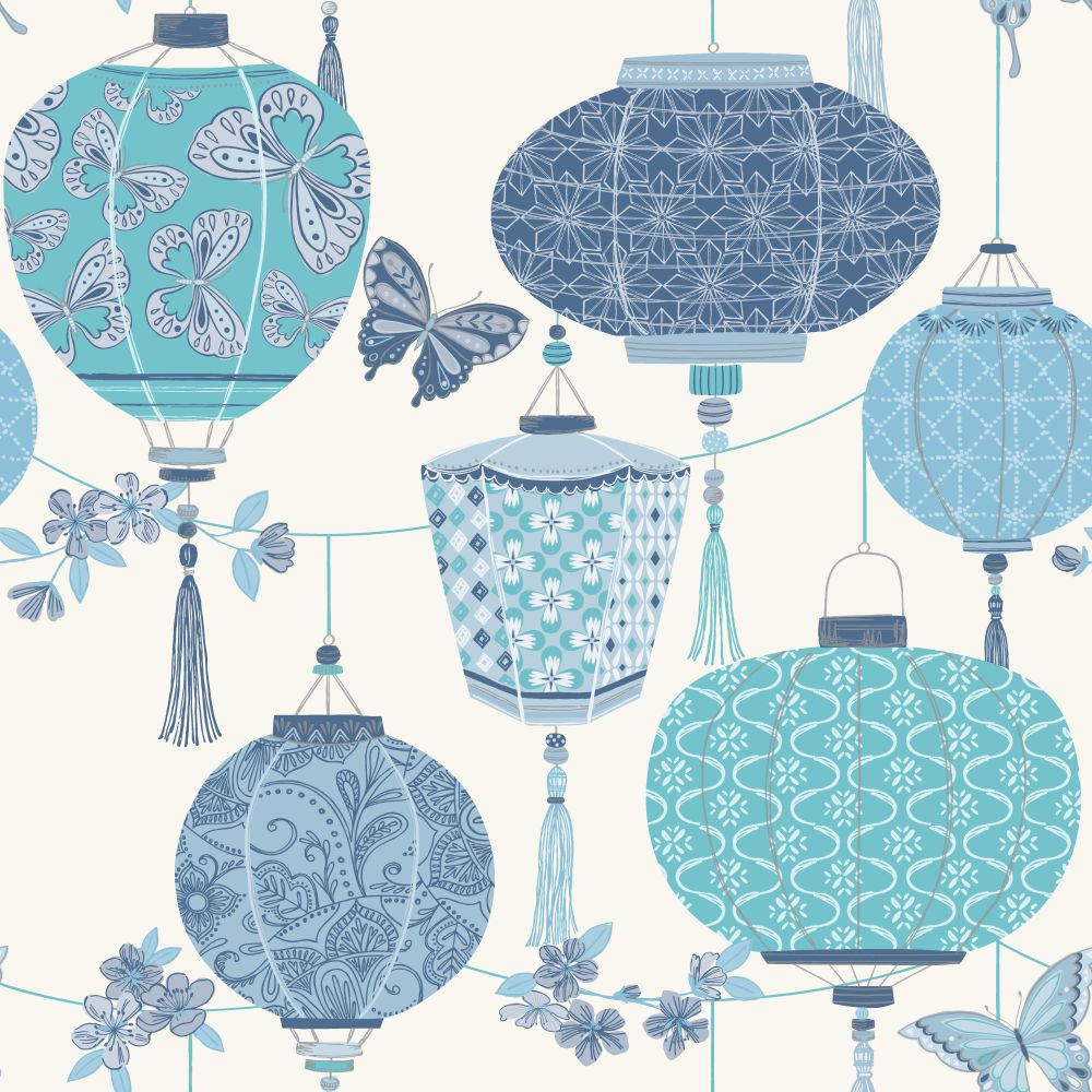 Albany Lantern Blue Wallpaper main image