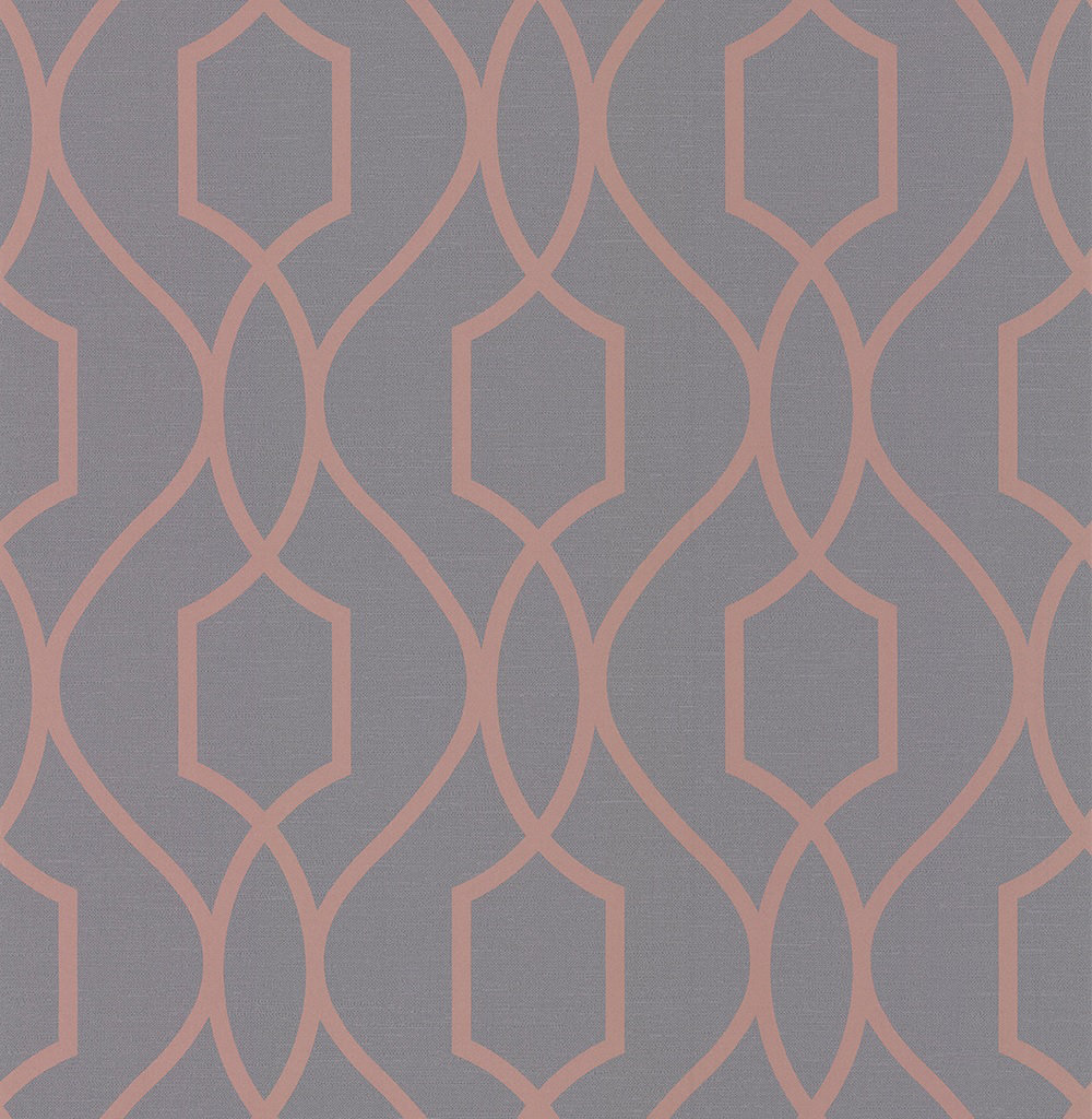 Albany Apex Trellis Charcoal and Copper Wallpaper main image