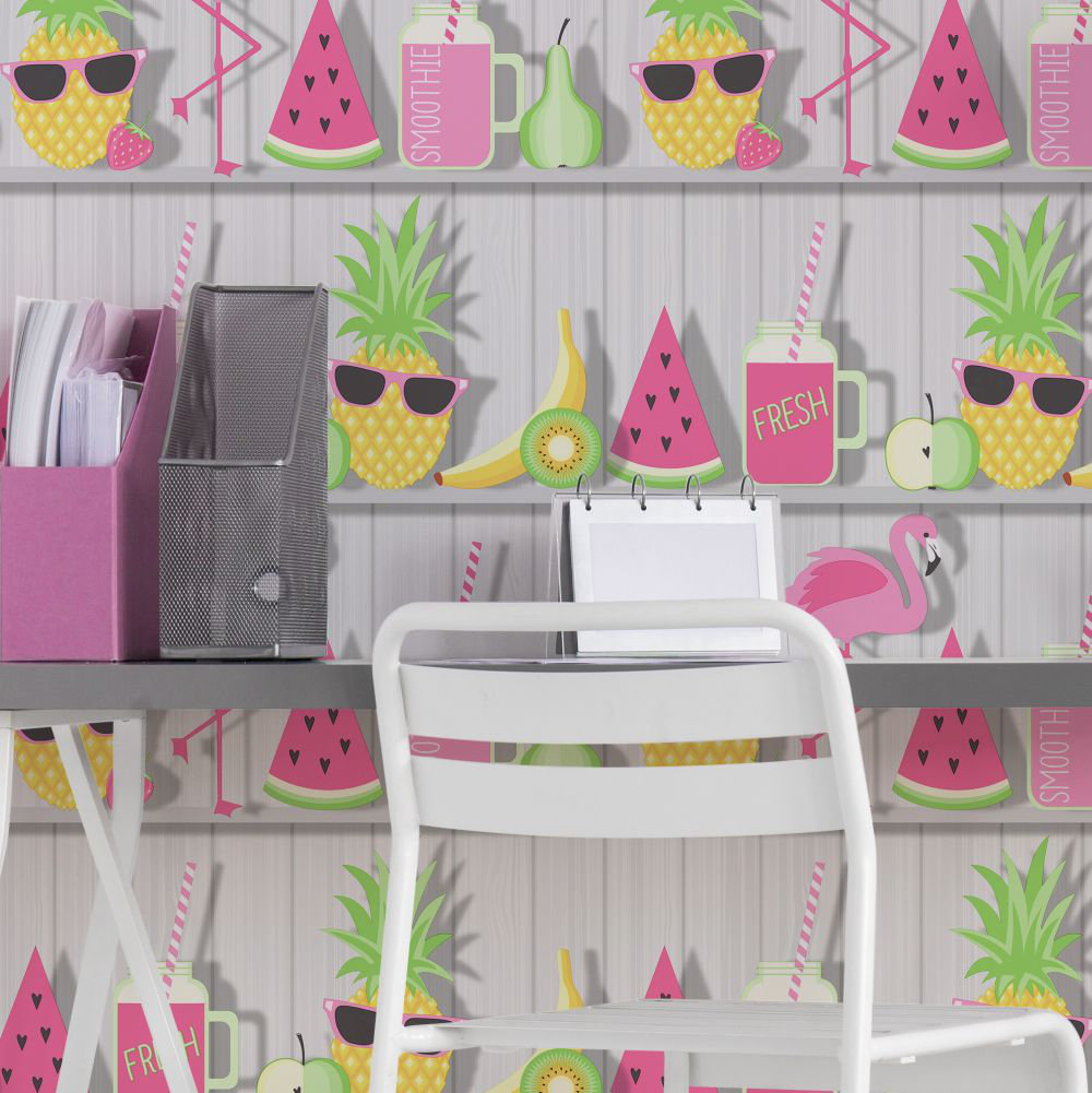 Kidz Tropical Shelves Wallpaper - Grey - by Albany