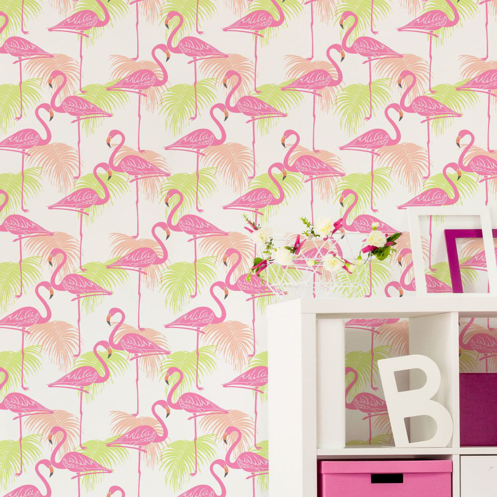 Kidz Flamingo Wallpaper - Pink and Green - by Albany